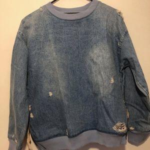 Zara Denim Crew Neck Pullover Size Small
